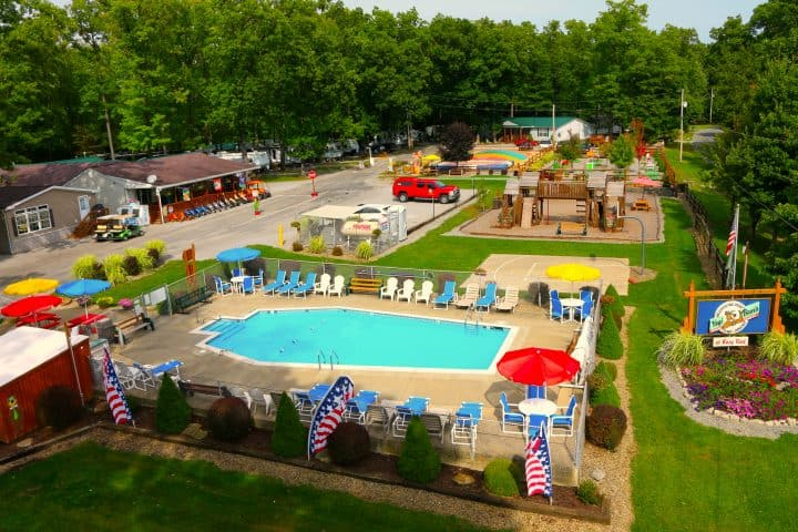 aerial view of Yogi Bear Campground in PA with pool
