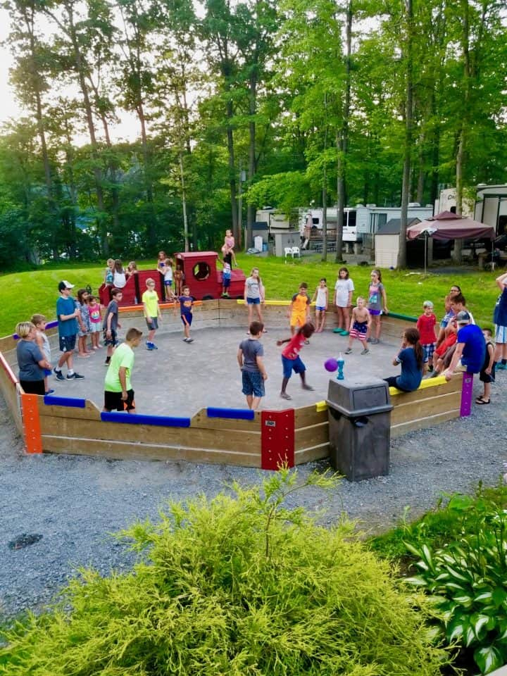 On site games and activities for guests at Yogi Bears Campground in PA