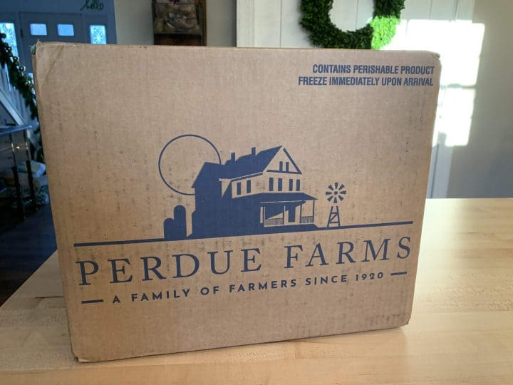 cardboard box with Perdue Farms logo on the side