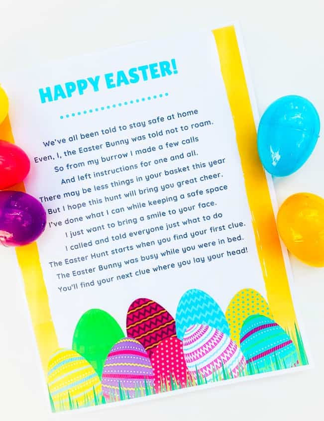 piece of paper with Easter Bunny poem and plastic eggs beside it