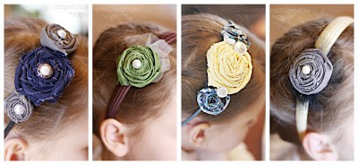A horizontal collage image showing 4 different headbands on a girl's head. Each headband is adorned with different homemade fabric rosettes