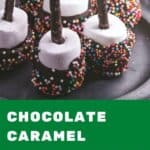 A pinterest pin with the text Chocolate Caramel Marshmallows. There is an image of chocolate coated marshmallows with sprinkles on a plate.