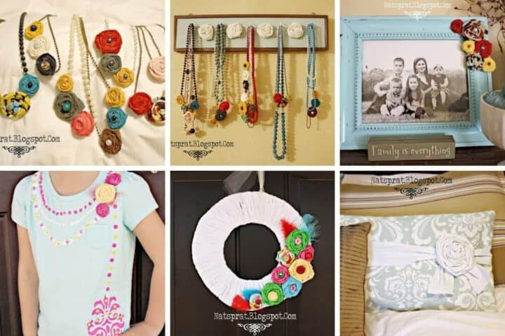 A horizontal collage image showing 6 different projects to use a fabric rosette on. The projects include necklaces, necklace hanger, picture frame, t-shirt, wreath, and pillow