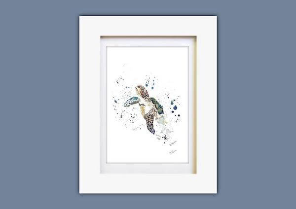 An abstract watercolor turtle framed in a white frame against  a blue  wall.