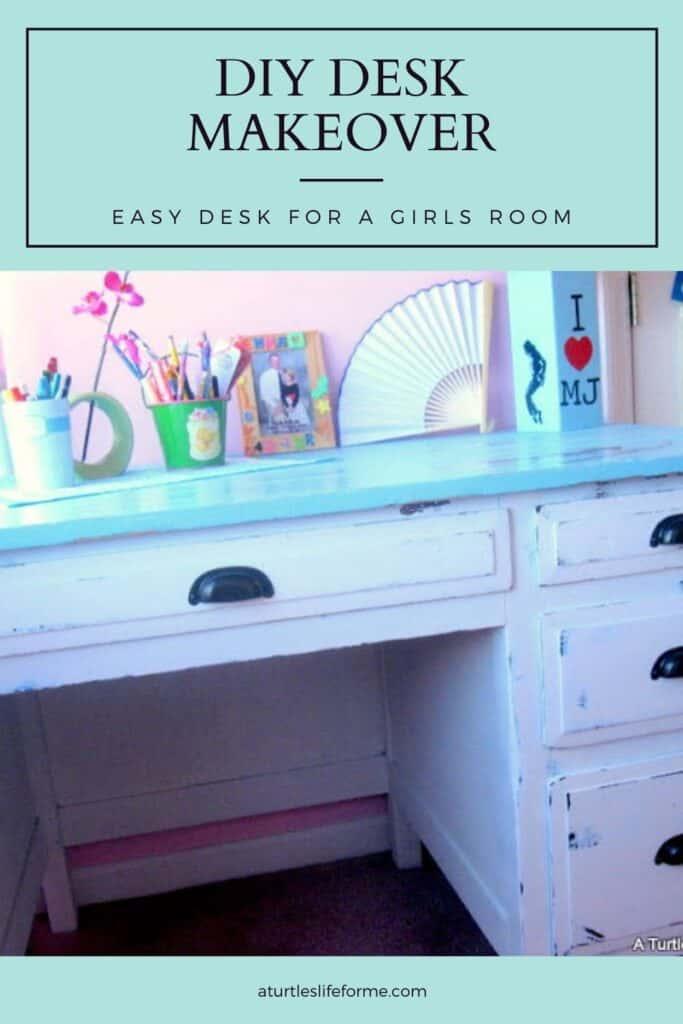 A Pinterest Pin with a photo showing a wood desk makeover for a girls room in blue and white. The text says DIY Desk Makeover Easy Desk for a Girls Room