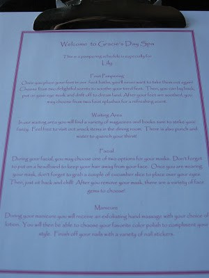 Personalized spa menu printed at home describing different pampering stations at a spa party for kids