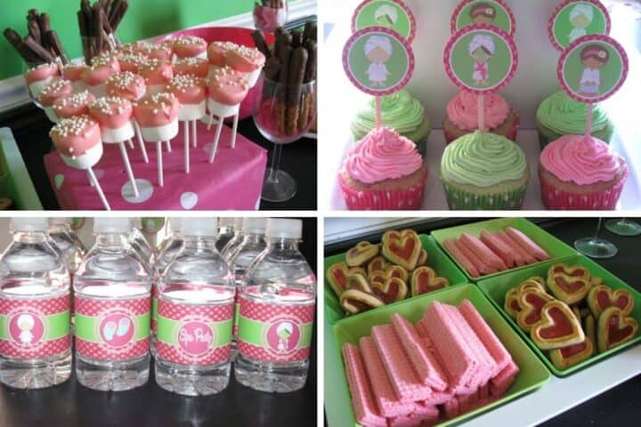 A collage showing different treats made for a girls spa birthday party. The photos show marshmallow pops, cupcakes with spa cupcake toppers, spa themed water bottles and cookies and wafers.