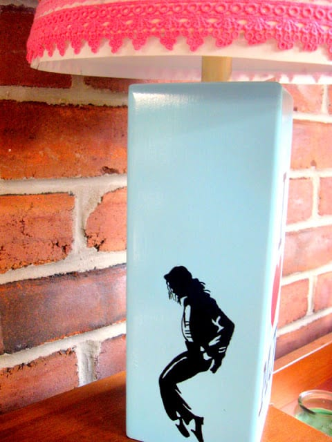 A DIY Michael Jackson Lamp Featuring a Silhouette of Jackson on a painted thrift store lamp base