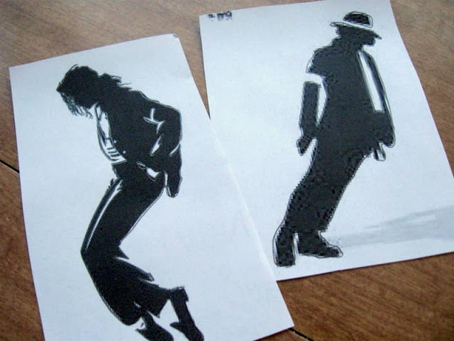 Printed out Michael Jackson Silhouettes to be used in a DIY Michael Jackson Lamp Project