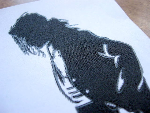 Printed out Michael Jackson Silhouette to be used in a DIY Michael Jackson Lamp Project