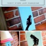 A Pinterest Pin with a collage of a DIY Michael Jackson Lamp showing a collage of the finished lamp and the text that says DIY Michael Jackson Lamp - Thrift Store Lamp Makeover