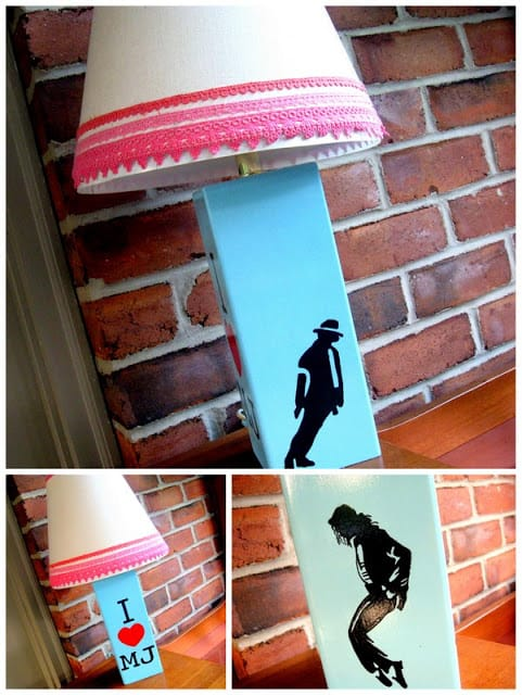 A collage of three photos showing the after of a Thrift Store Lamp makeover project to create a Michael Jackson lamp
