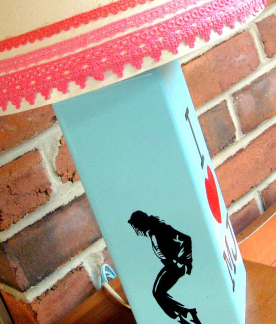 A DIY Michael Jackson Lamp with a Silhouette of Michael Jackson on a Thrift Store Lamp Base