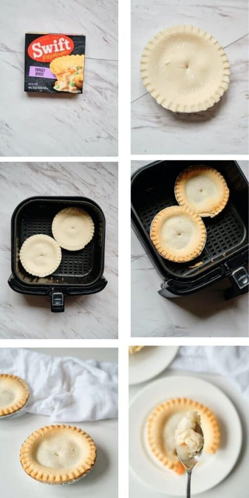 A 6 image collage showing how to cook a frozen pot pie in an air fryer. The collage shows a frozen pot pie in a box, out of the box on a counter, frozen and uncooked in an air fryer, in an air fryer after being cooked, on a plate on a counter, and being eaten.