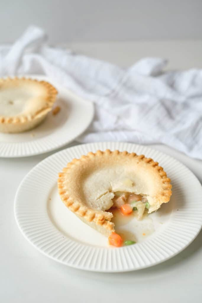 A side image of a golden brown pot pie sitting on a white dinner plate with a bite out of it. You can see the cooked insides oozing out.