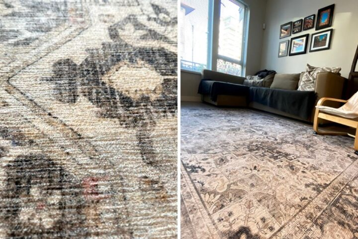 A 2 photo collage showing side by side images of a Ruggable rug in a family room. The image on the left shows the rug pattern up close and the image on the right shows the rug with furniture in a room.