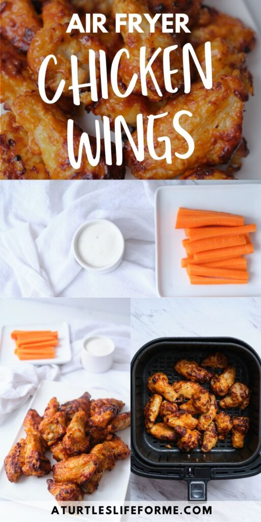 A pinnable image with the text Air Fryer Chicken Wings with a collage of different photos showing cooked chicken wings on a plate and in an air fryer basket, as well as garnishes and dip