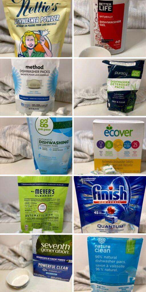 A long collage graphic with 10 individual photos of different dishwasher detergent brands in their packaging
